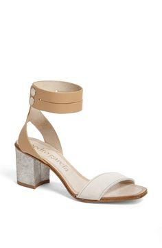 Pedro Garcia Xola Ankle Strap Block Heel Sandal in White (Almond/ White)