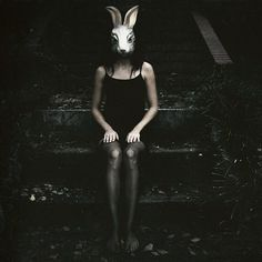 Documenting a phenomenon: Pictures of folks wearing animal masks. Have pictures of strangers/young folks/businessmen/art majors/friends/yourself wearing animal masks? Animal Masks, Animal Heads, Arte Horror, Horror Art, Bunny Mask, Looks Halloween, Poses Photo, Photo D Art, Bizarre