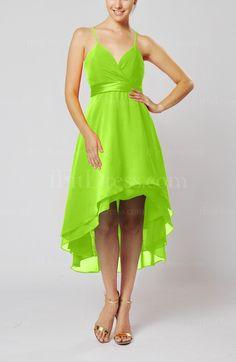 Lime Green Bridesmaid Dress------ Hot pink with bright orange ribbon around waist