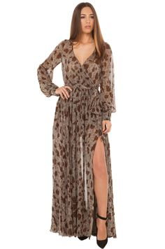 AKIRA's Stone Leopard Maxi Dress features a deep v-neckline with wrap detail, grey/brown/black leopard print, an elasticized waist with tie sash belt & loop, two front slits, and banded cuffs with two round grey button closures. Free standard U.S. shipping  $75+ on shopakira.com