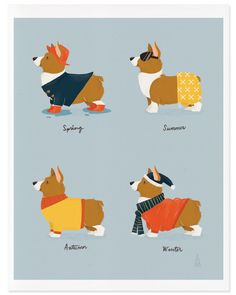 Fine Art Corgi Print Seasonal Corgis Illustration by mankaco