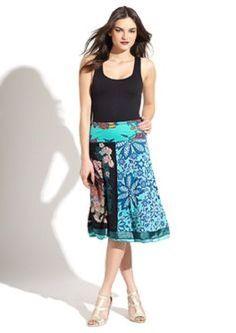 DESIGUAL Artsy Gypsy Embroidered A-line skirt  M (10/12) Turquoise Black Multi #Desigual #ALine