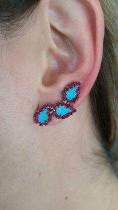 Ear cuff, brinco tendência queridinho das famosas, turquesa e rosa!