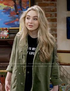Maya's army jacket on Girl Meets World. Outfit Details: https://wornontv.net/62376/ #GirlMeetsWorld
