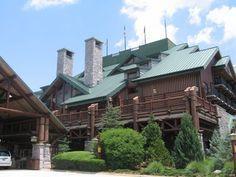 Main Entrance to Wilderness Lodge Disney World Resorts, Walt Disney World, Yellowstone National Park, National Parks, Wilderness Resort, Tall Fireplace, Old Faithful, Main Entrance, Disney Trips