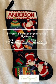 Shop our huge selection of Christmas Needlepoint Stockings and Stocking Cuffs on Needlepoint.Com! #ChristmasNeedlepoint