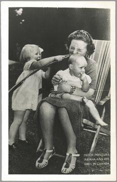 yoursweetremedy:  Princess Juliana with Princess Beatrix and Princess Irene in Canada during WWII