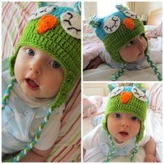 My adorabe baby boy in his knitted owl hat, love it! www.dollydowsie.com