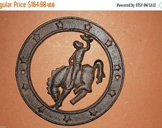 """Check out 13% OFF 18) bucking horse wall plaques, cast iron cowboy bronco wall plaque, country western cast iron decor, 6"""", free shipping, W-20 on wepeddlemetal"""