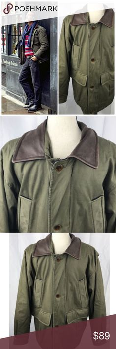 """L.L. Bean Bomber Field Jacket Mens Small Green VTG Vintage L.L. Bean Bomber Field Jacket  Army Military Green with Brown Leather Collar  AMAZING Super Cool Heavy Style  Mens Small Chest: 44"""" Length: 29.5""""  Some wear/distress/marks here & there from age/normal use. L.L. Bean Jackets & Coats Military & Field"""