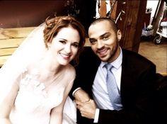 Sarah Drew & Jessie Williams BTS of April's wedding on Grey's Anatomy
