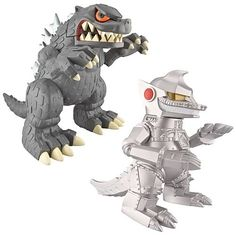 Godzilla and MechaGodzilla.I need these for my toy collection! Godzilla Figures, Godzilla Toys, Vinyl Figures, Action Figures, Dinosaur Background, Monster Pictures, Mini Monster, Fantasy Films, Manga