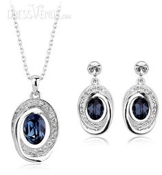 Luxurious Dark Blue Gemstone with Silver Rhinestone Jewelry Set(Including Necklace&Earrings)