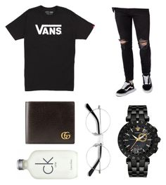 A menswear look from August 2017 featuring mens tall shirts, mens ripped skinny jeans and mens white watches. Browse and shop related looks. Versace, Calvin Klein, Men's Fashion, Gucci, Vans, Menswear, Polyvore, Stuff To Buy, Shopping