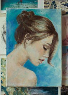 "Original Oil Painting on Canvas ""Blue Bun"""