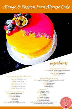 Mango & Passion Fruit Mousse Cake. This stunning and elegant cake combines two of my favourite flavours passion fruit and mango. It consists of several layers and is covered in double mirror glaze to give it a special wow effect. This passion fruit and mango mousse is so spectacular and is of the best desserts I have ever made.