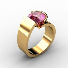 This ring is a stunner from top to bottom! What color will you choose? Available with any center stone, and in the metal of your choice. Modern Jewelry, Unique Jewelry, Paul Michael, Coloured Stone Rings, Jewelry Rings, Silver Jewelry, Jewellery, Ring My Bell, Pink Gemstones