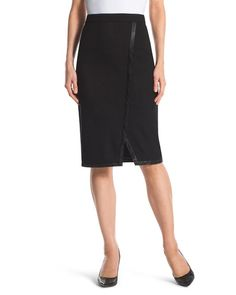 "Side-Slit Black Skirt  Make a date to wear this black skirt. Faux-leather trim and a chic side slit create sophisticated style. Concealed side zipper. Length: 24"". 68% rayon, 28% nylon and 4% spandex. Machine wash. Imported."