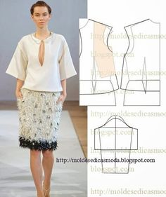 The best DIY projects & DIY ideas and tutorials: sewing, paper craft, DIY. DIY Women's Clothing : Mod@ En Line -Read Blouse Patterns, Clothing Patterns, Sewing Patterns, Fashion Sewing, Diy Fashion, Ideias Fashion, Diy Couture, Couture Sewing, Sewing Clothes