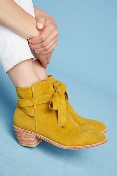 Mustard yellow suede booties