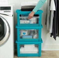 11 Gal Small Tote Rubbermaid Storage Box Stackable Bin Clear Drop Down Door Blue #Rubbermaid
