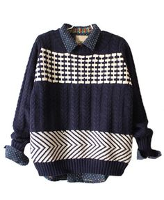 Chunky Knit Sweater in Color Block Design