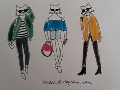 Fashionillustration with cats. www.shirleychen.com
