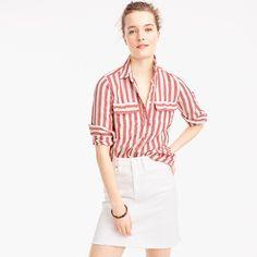 J. Crew Striped Button Up Shirt in Linen Scarf Top, Scarf Shirt, Neutral Tops, Striped Scarves, Striped Linen, Striped Tops, Spring Outfits, Button Up Shirts, Women's Shirts