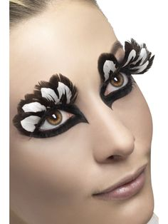 Brown and White Feather Eyelashes - 24255 - Fancy Dress Ball