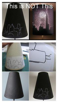 DIY Skyline Pierced Lampshade Tutorial