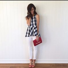 Anthro checkered Peplum top A favorite among style bloggers. Excellent condition, I honestly don't think I even wore it.  Details in last picture for length. Anthropologie Tops