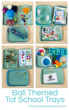 Ball Themed Tot School Trays
