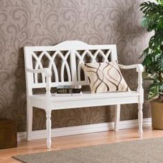 @Overstock - An antique white finish and solid wood construction highlight this bench. The bench has a cathedral style backrest with spindle front legs and arm rests.http://www.overstock.com/Home-Garden/Loma-Antique-White-Finish-Wood-Bench/5540644/product.html?CID=214117 $149.99