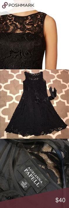 Adrianna Papell Lace sheath cocktail dress lace sheath cocktail dress // sleeveless // lace waist sash // black size 10 // like new Adrianna Papell Dresses