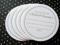 Buchdruck Coaster Set Beratung für die Braut & von LuckyBeePress