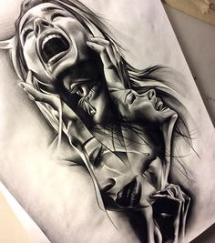Really intense & emotional art... Very Stunning Drawing Works by David Reveles See Below Source=instagram.com/tattoospooky_d