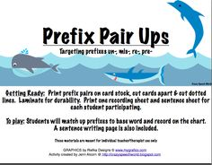 Under the Sea-Ocean themed materials and activities that focus on prefixes for building vocabulary. From Crazy Speech World. Teaching Grammar, Student Teaching, Teaching Reading, Reading Games, Teaching Activities, Language Activities, Teaching Tips, Word Study, Word Work