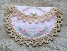 Wedding handkerchief bride groom initial monogram embroidered baby girl gift keepsake pouch embroidered tatted edging linen satin lining mother of pearl button baptismchristening gift monogram negle Images