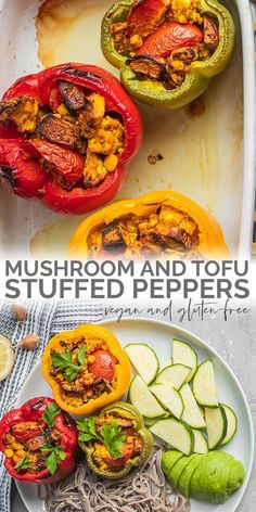 Easy vegan mushroom and tofu stuffed peppers: perfect for a healthy and high protein appetizer lunch or dinner! This dish is beginner-friendly and made with simple ingredients as well as gluten-free and oil-free. - March 16 2019 at Tofu Recipes, Vegan Dinner Recipes, Vegan Dinners, Whole Food Recipes, Healthy Recipes, Easy Recipes, Chicken Recipes, Vegan Appetizers, Healthy Chicken