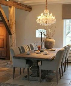Putty upholstered dining chairs and gorgeous taupe walls   Belgian style   Katherine Barnett  broker  Re Max Realty Specialists Inc Wooden sofa and furniture set designs for small living room  . Wooden Sofa Set Designs For Small Living Room. Home Design Ideas