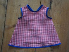 pinafore style dress, red vichy
