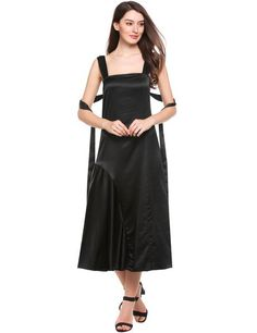 Black Sleeveless Solid Square Neck Pullover Slim Long Maxi Dress
