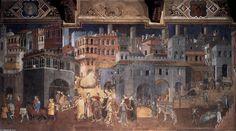 Effets du bon gouvernement sur la ville, fresques de Ambrogio Lorenzetti (v.1338), Palais communal de Sienne (Italie)
