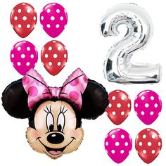 2nd Birthday Party Supplies Minnie Mouse Second Foil Balloon Polka dots Pink&Red #Anagram #BirthdayChild