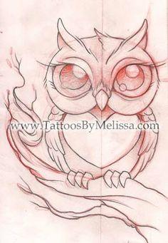 Cute owl sketch http://www.tattoosbymelissa.com/