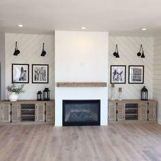 38 Ideas For Living Room Wallpaper Fireplace Mantles Fireplace Built Ins, Farmhouse Fireplace, Home Fireplace, Living Room With Fireplace, Fireplace Design, Fireplace Candles, Fireplace Ideas, Country Fireplace, Fireplace Bookshelves