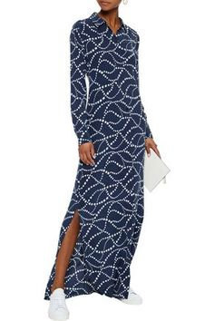 2b3840aff26 Brett printed washed-silk maxi shirt dress