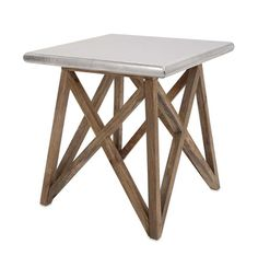 IMAX Mast Aluminum Clad Table - Bridge the gap with an architecturally inspired wood accent table clad in aluminum for an updated industrial look.