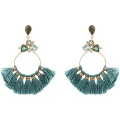 Atelier Mon Labradorite And Blue Tassel Hoop Earrings (€85) ❤ liked on Polyvore featuring jewelry, earrings, blue, tassel jewelry, blue color earrings, fringe tassel earrings, tassle earrings and earring jewelry