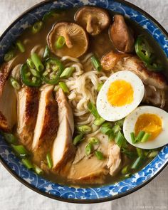 Easy homemade chicken ramen with a flavorful broth roasted chicken fresh veggies lots of noodles and a soft cooked egg. Inspired by traditional Japanese ramen but on the table in under an hour. Chicken Ramen Recipe, Chicken Recipes, Ramen Noodles Recipe, Best Ramen Recipe, Miso Chicken, Pho Recipe, Fresh Chicken, Asian Recipes, Healthy Recipes